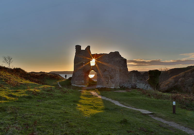 Pennard Castle on the Gower Coast Path