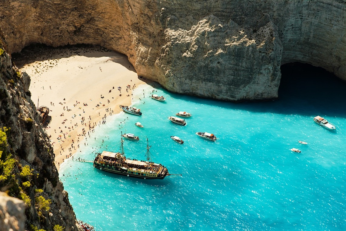 an idyllic cove in zante