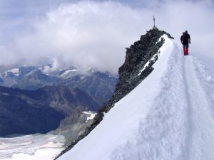 The summit of Allalinhorn, one of the easiest 4,000m peaks in the Alps