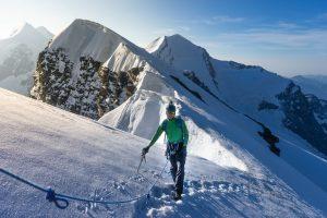 Cimber on the ridge to the briethorn switzerland