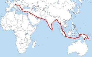 A map of Oskar Speck kayaking route