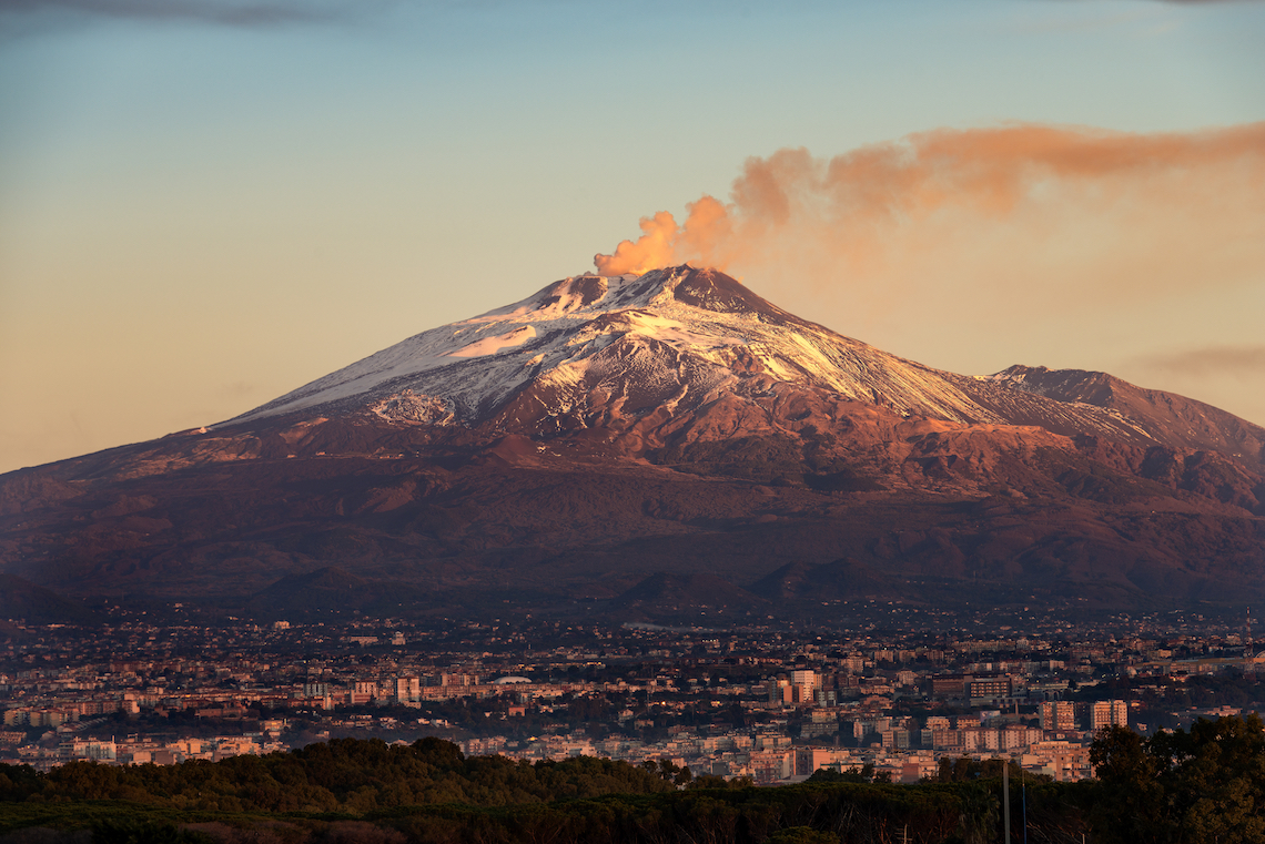 Mount etna on Sicily, one of the biggest Italian islands