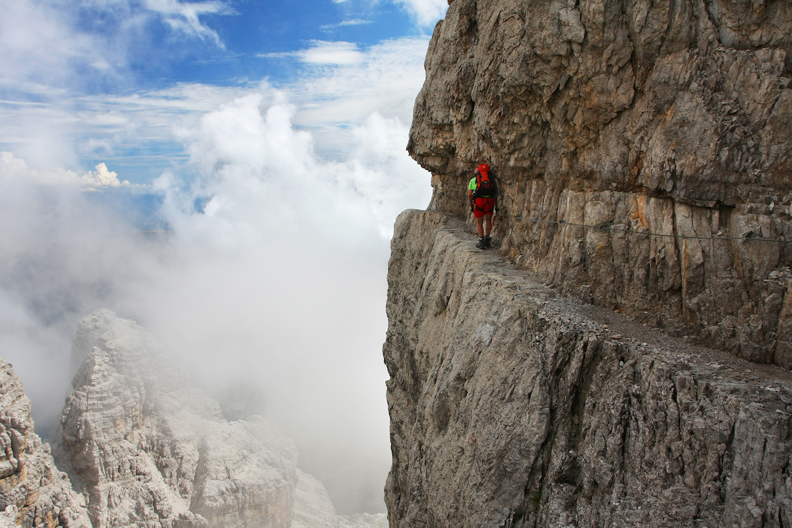 epic via ferrata in the Italian Dolomites
