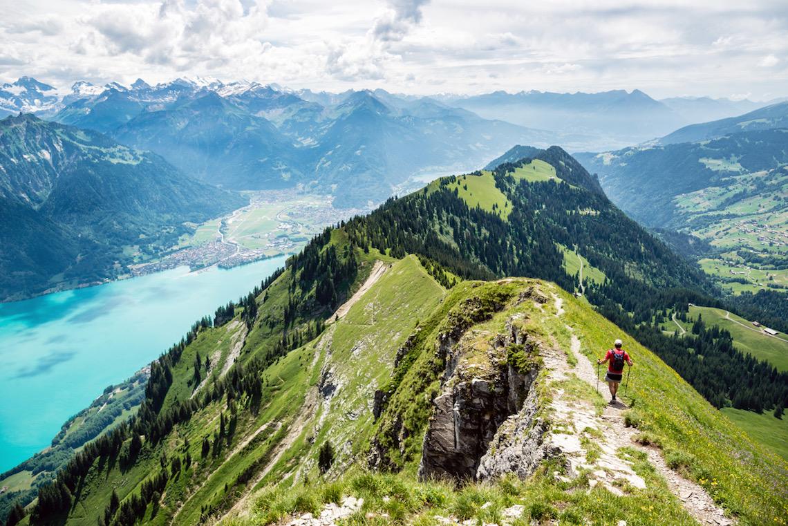 Gone walk between Augstmatthorn and Harder near Interlaken, Bernese Oberland, Switzerland