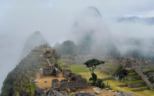 Machu Picchu covered in fog