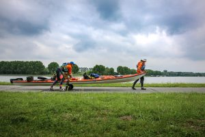 Moving kayak on kayaking through Europe challenge