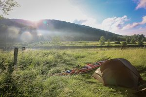 A serene camping spot on the kayaking through europe expedition