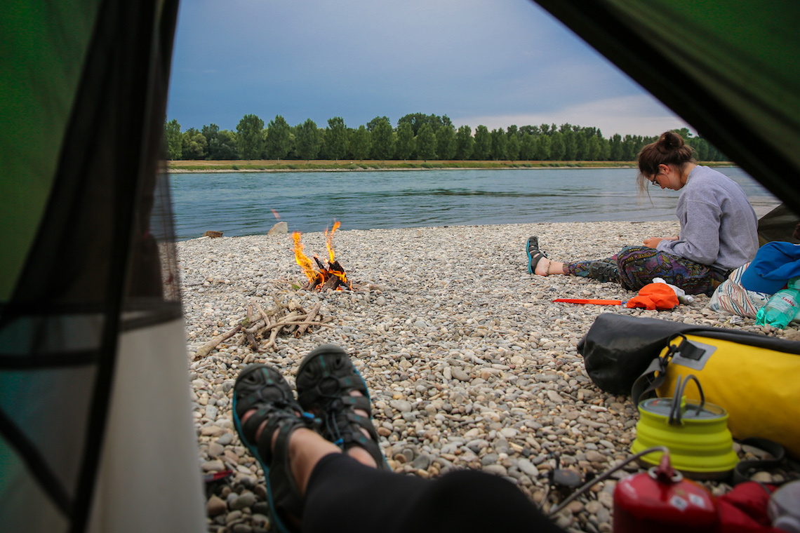 Beach landing campfire kayaking through europe