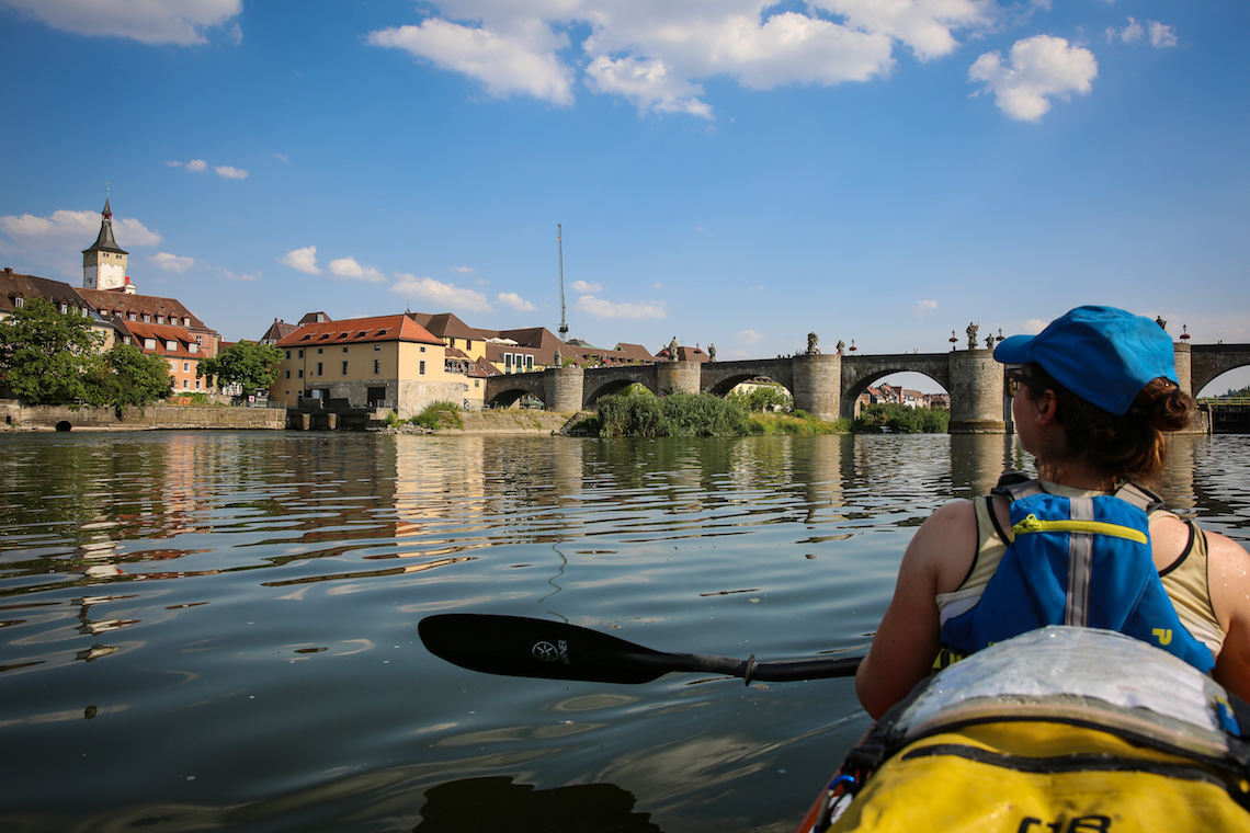 Kayaking through kelheim in Germany