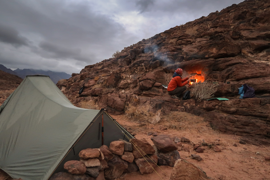 Camping in the desert on the Jordan Trail