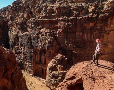 hiking the Jordan Trail, looking down at Petra