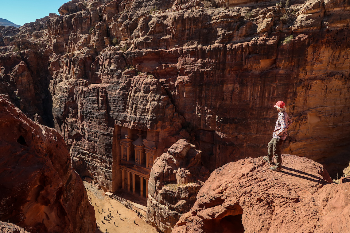 hiking the Jordan Trail, looking down at Petra