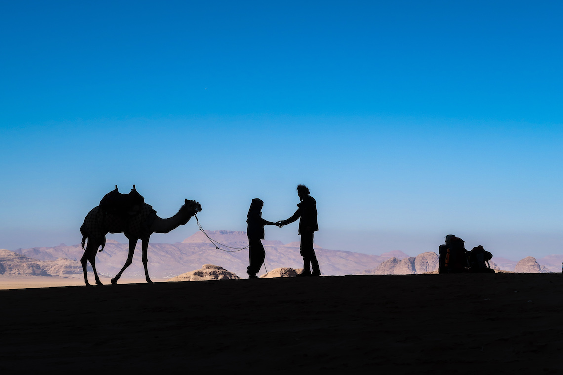 camels in silhouette on the jordan trail
