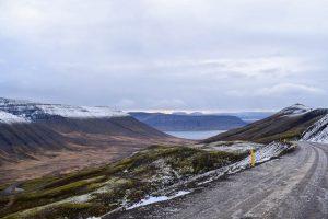 Mountain pass overlooking fjord