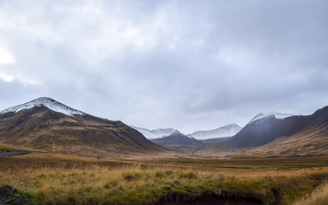 Snow kissed mountains in the Westfjords