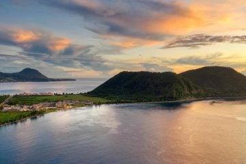 Dominica resort at sunset