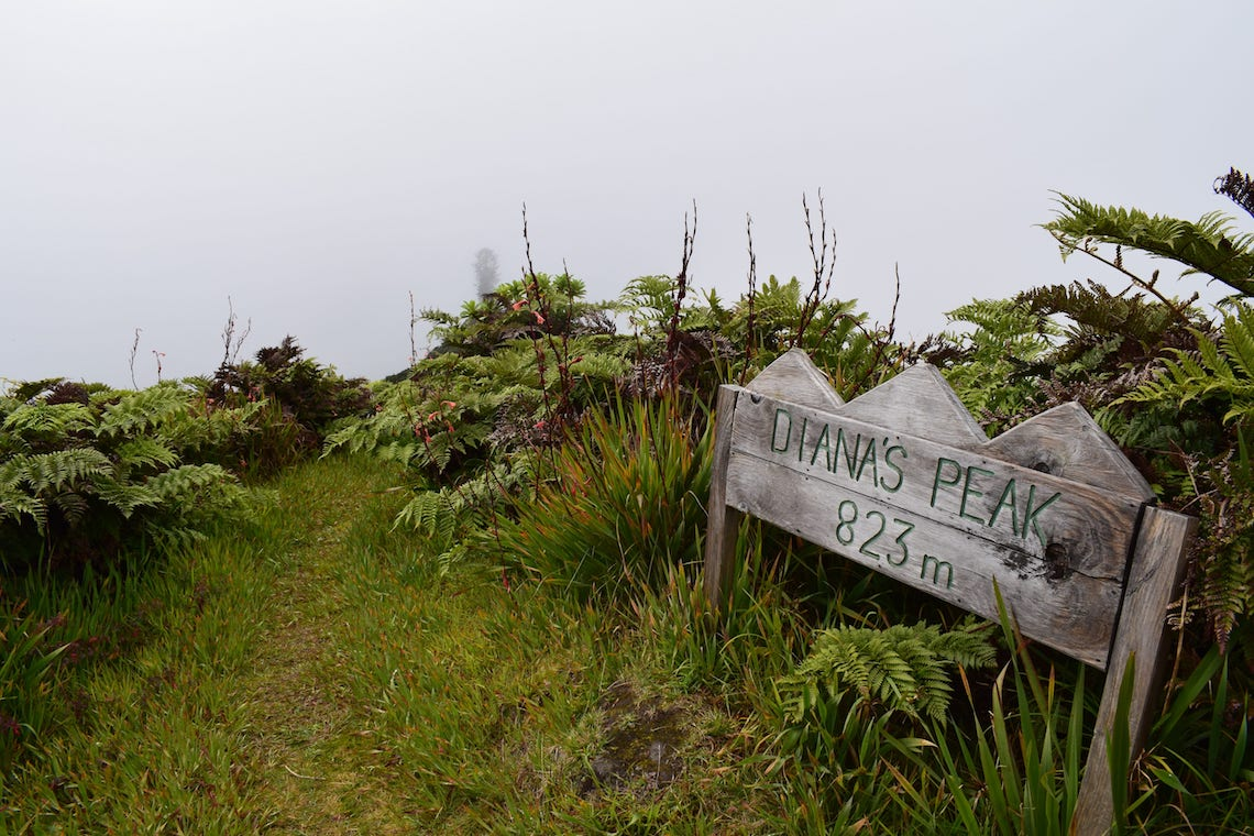 Sign to Diana's peak best activities on St Helena