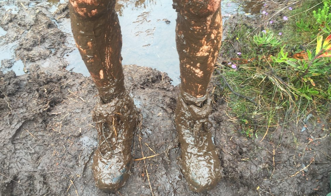 extremely muddy boots