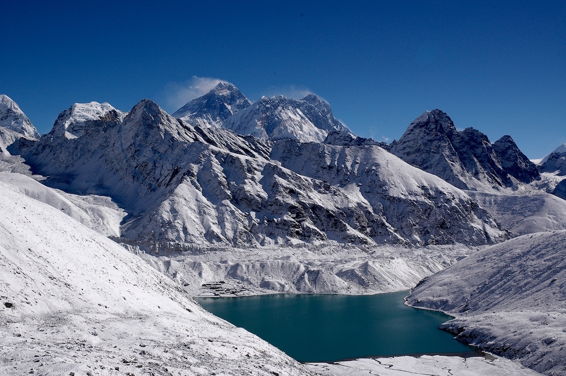 Mount Everest and Gokyo lake from the Renjo la Pass