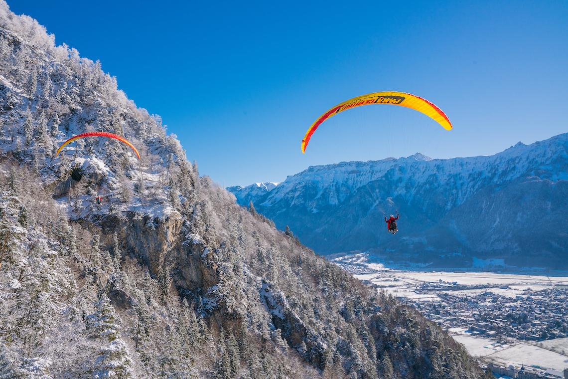 Paragliding winter adventure in Switzerland
