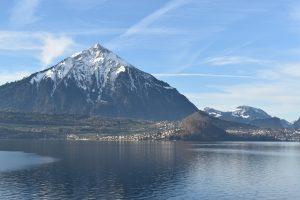 Views of Niesen, 2362m, across Lake Thun (1)