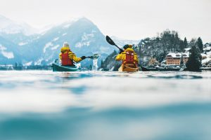 Winter kayaking in switzerland