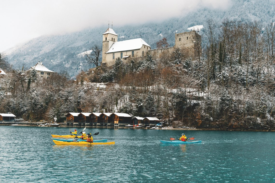 Kayaking on a winter adventure in Switzerland