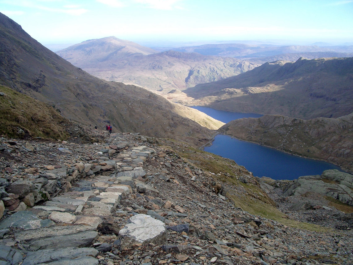 Looking back down the Pyg Track from Snowdon, Snowdonia, Wales. Taken in February 2007.