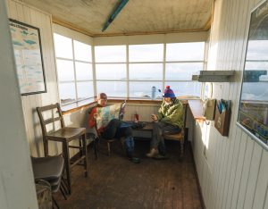 Chilling in the lookout bothy on the Skye Trail