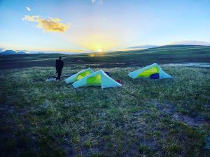 Tents at sunset, Ash Dykes mission yangtze
