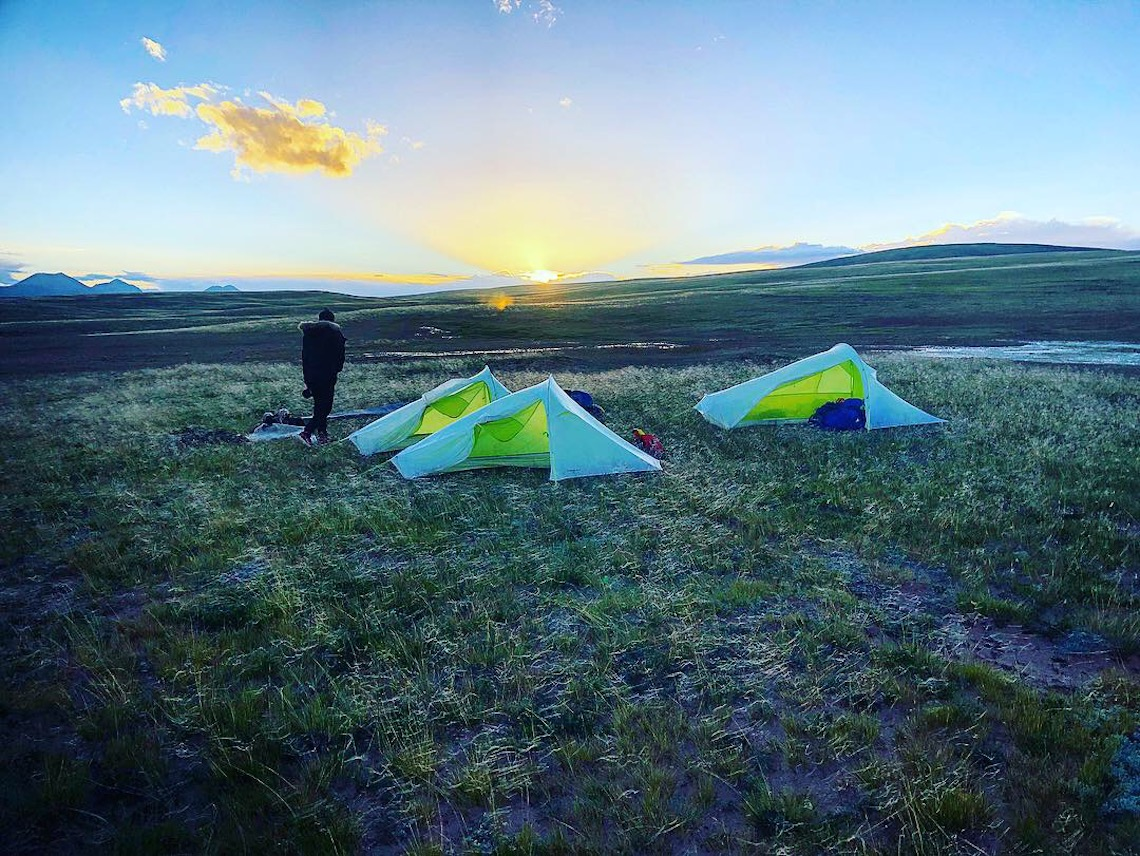 Tents at sunset, Ash Dykes mission yangtze