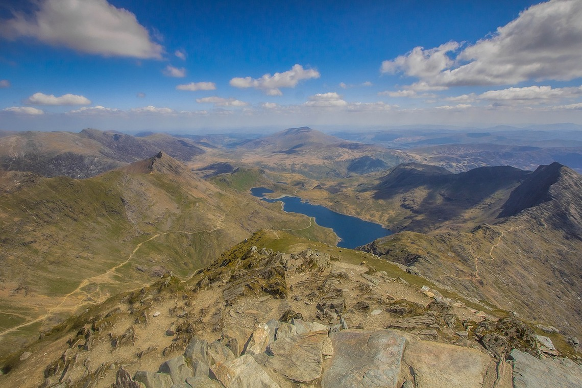 View from the summmit of mount Snowdon guide to snowdon routes