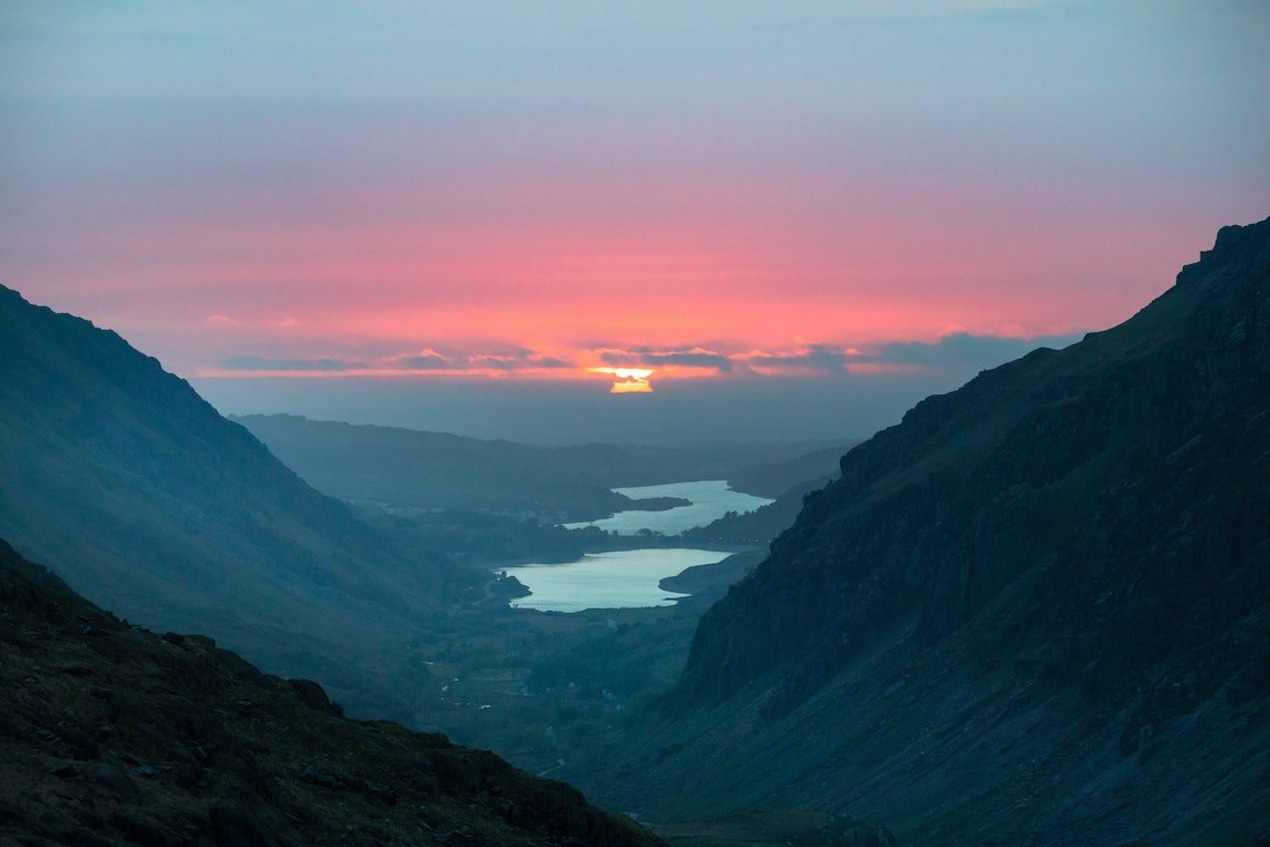 mount snowdon at sunset