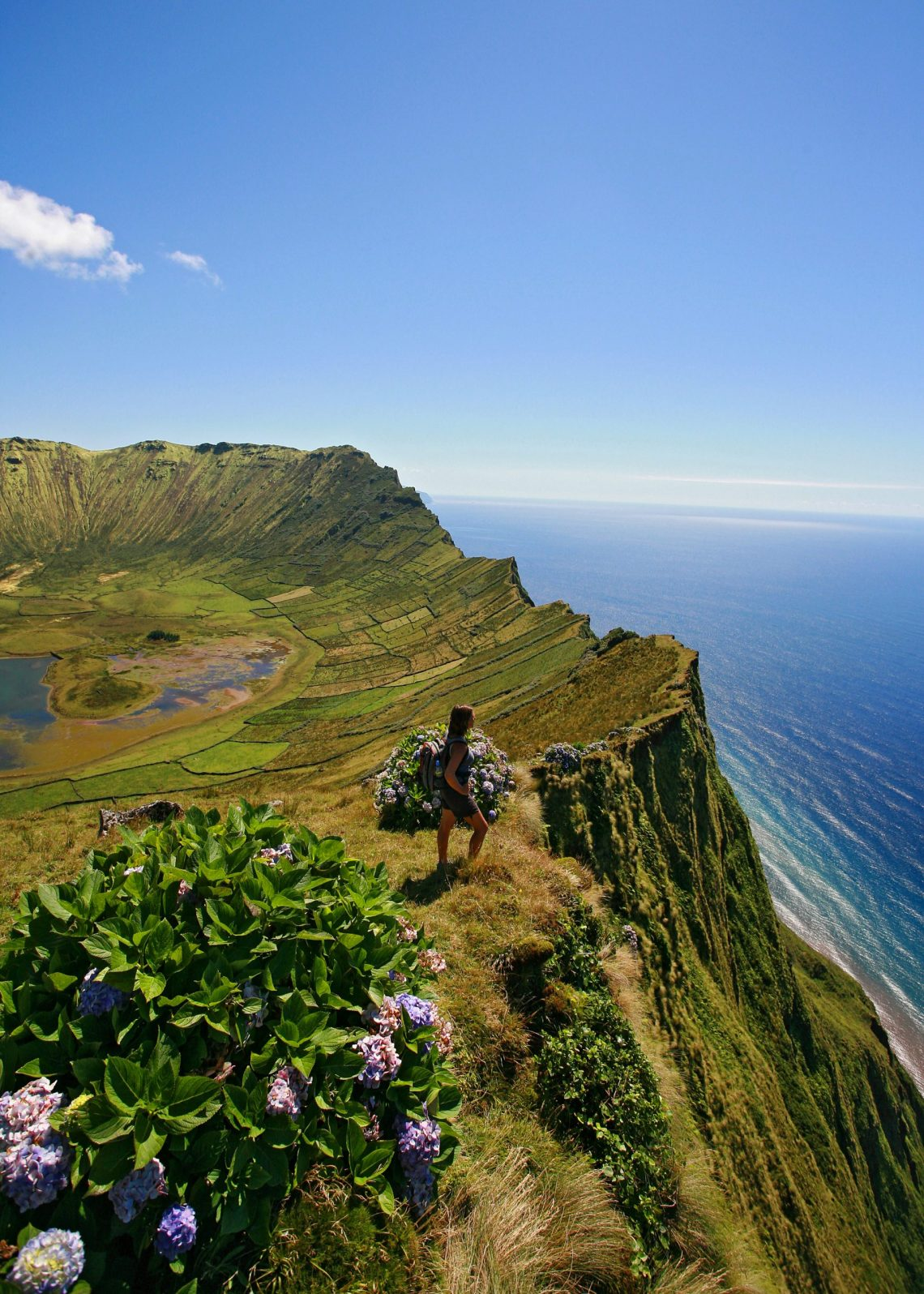 Hiking coastal trails in the Azores